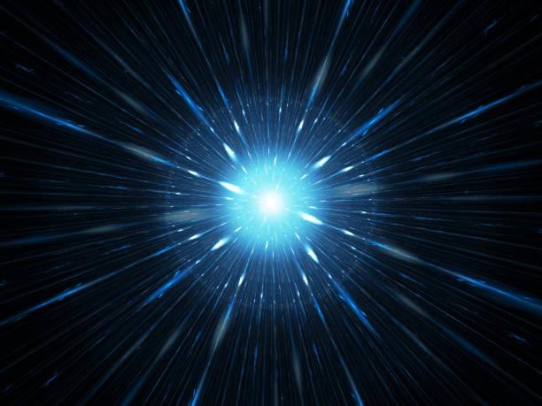blau leuchtende explosion im weltraum, starburst - strahlung stock-fotos und bilder