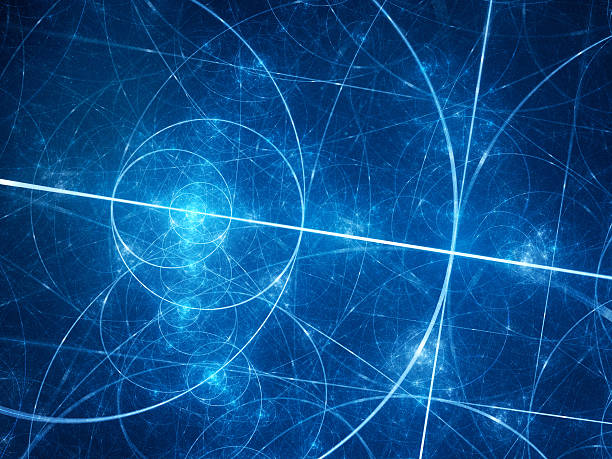 blue glowing fibonacci circles in space - fractal stock photos and pictures