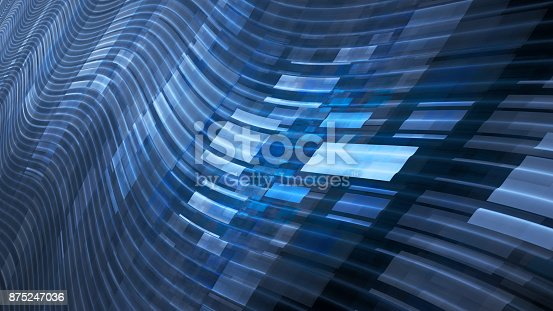 istock Blue glowing flying tiles on wavy trajectories 875247036