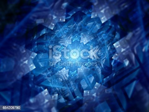 istock Blue glowing futuristic hardware fractal 654209790