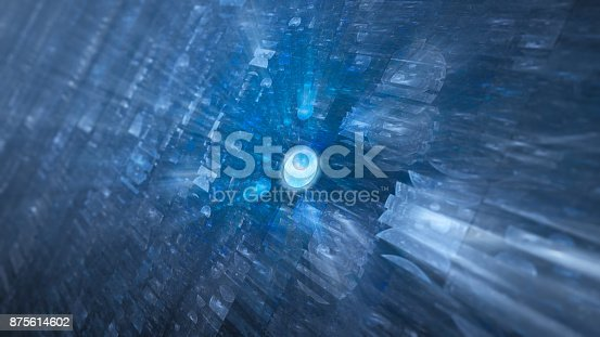 istock Blue glowing futuristic hardware with chip 875614602