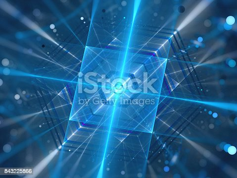 istock Blue glowing futuristic quantum processor 843225866