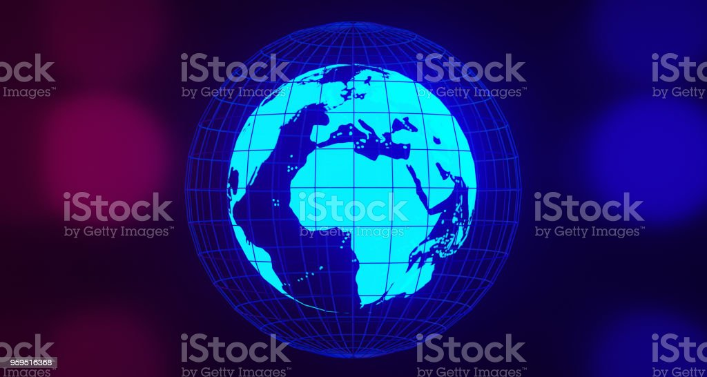 Blue Glowing Globe On Blurry Background.3D Rendering stock photo