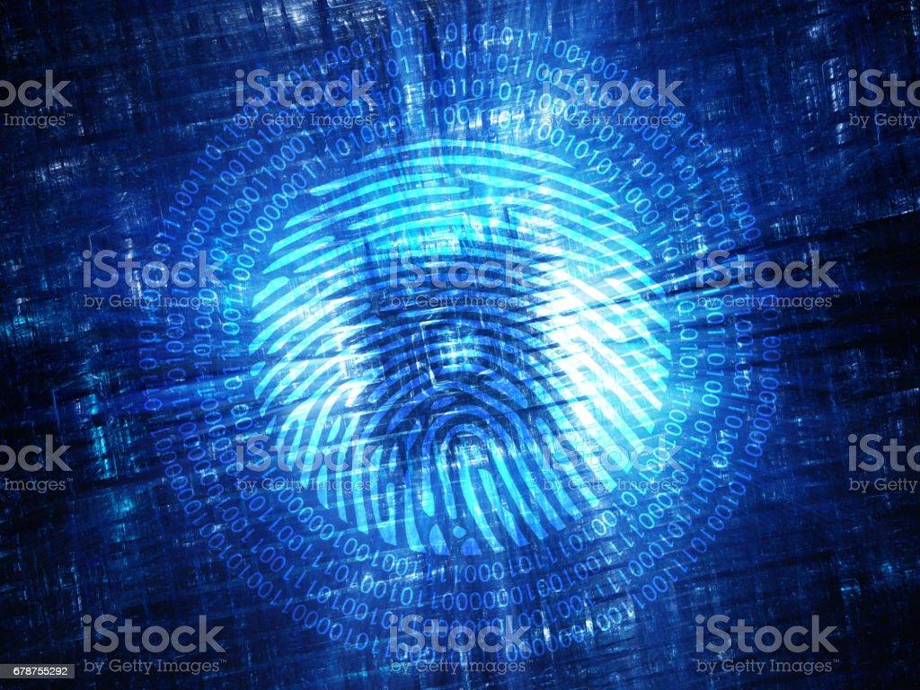 Blue glowing hardware with digital fingerprint stock photo