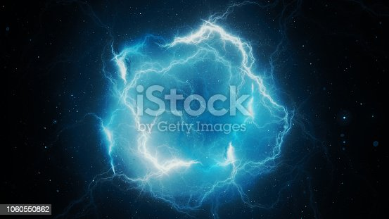 istock Blue glowing high energy lightning, computer generated abstract background, 1060550862