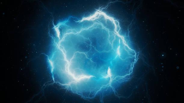 niebieski świecący piorun o wysokiej energii, generowane komputerowo abstrakcyjne tło, - elektryczność zdjęcia i obrazy z banku zdjęć
