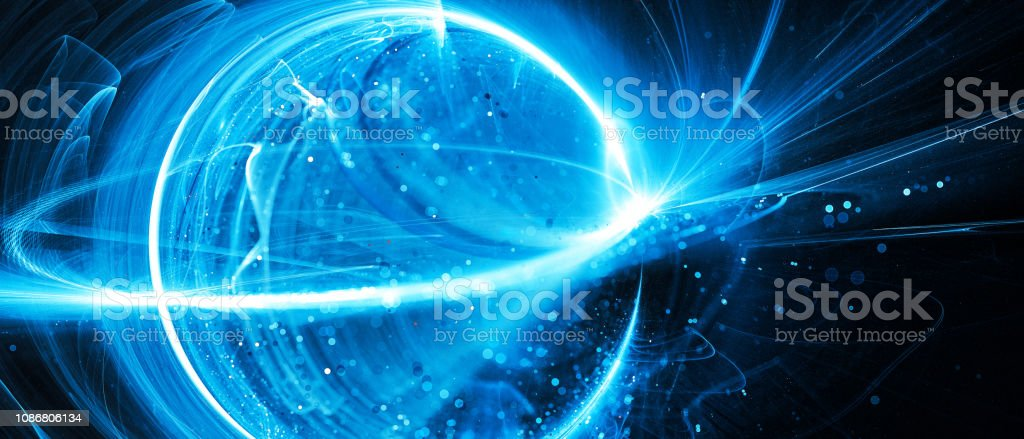 Blue glowing interstellar technology in space stock photo
