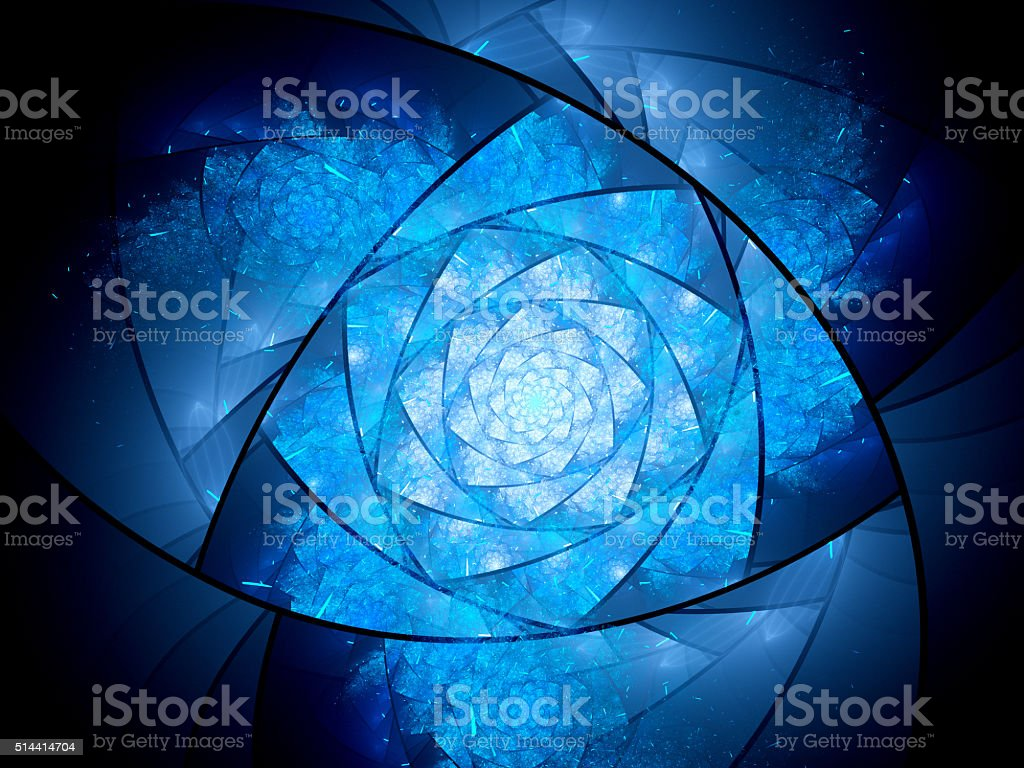 Blue glowing lazysusan shaped space mandala stock photo