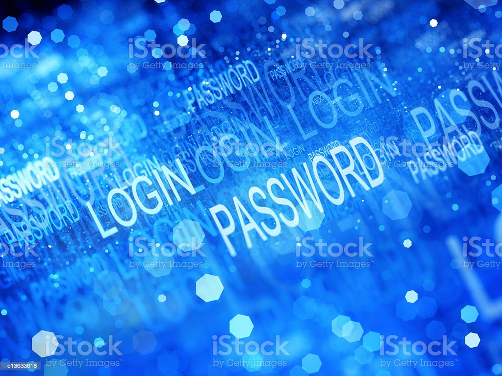 Blue glowing login and password flow fractal stock photo