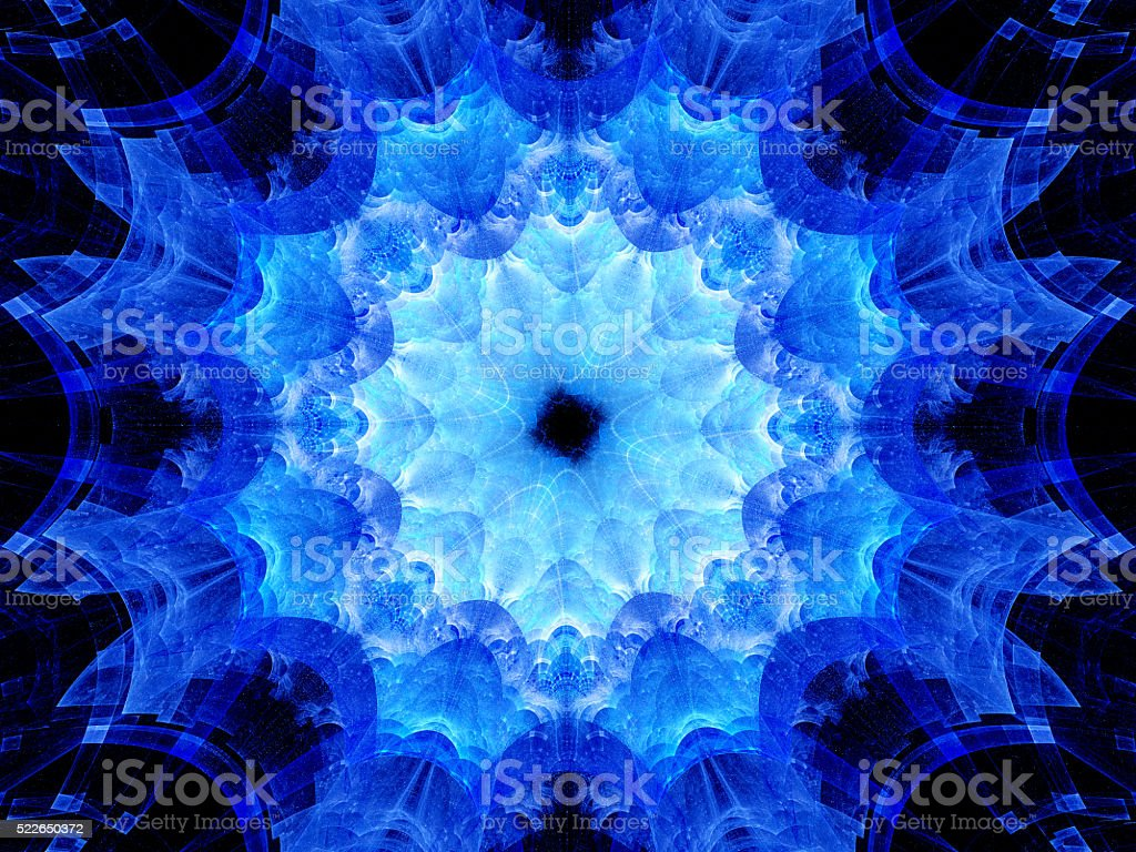 Blue glowing mandala artwork stock photo