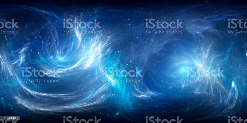 Blue glowing nebula in deep space 360 degrees panorama stock photo