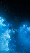 Blue glowing nebula smartphone template, computer generated abstract background, 3D rendering