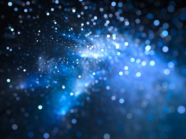 Blue glowing nebula with stars in bokeh, depth of field stock photo