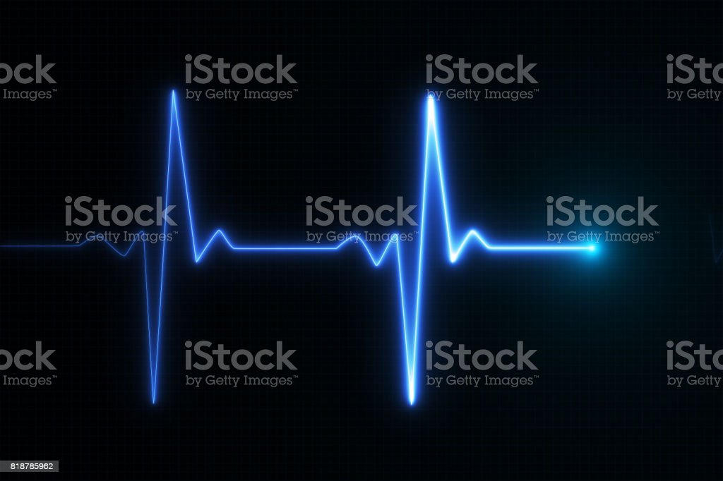 Blue glowing neon heart pulse graphic illustration stock photo