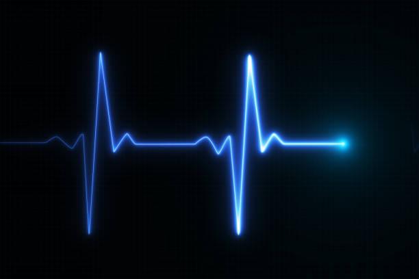bleu lumineux néon coeur pouls graphique illustration - rythme cardiaque photos et images de collection