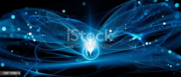 istock Blue glowing new technology in deep space 1087159974