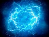 Blue glowing plasma lightning