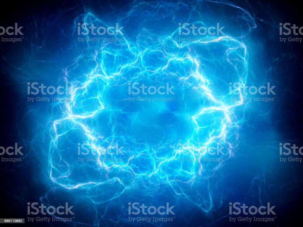 Blue glowing plasma lightning stock photo