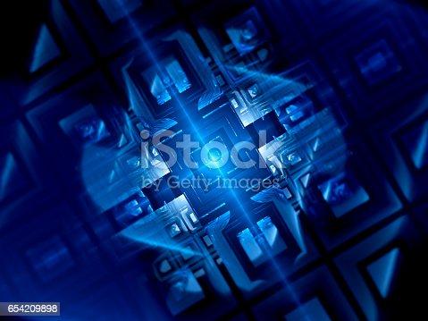 istock Blue glowing quantum computer 654209898