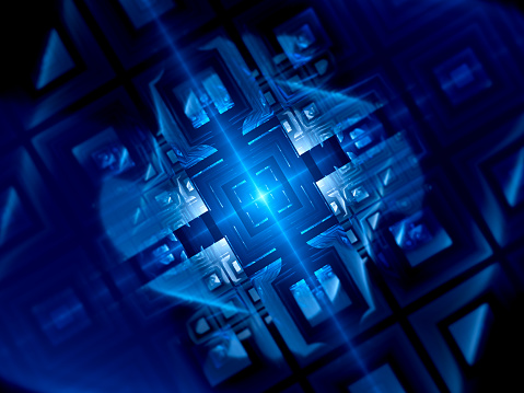 Blue glowing futuristic quantum computer, computer generated abstract background, 3D rendering