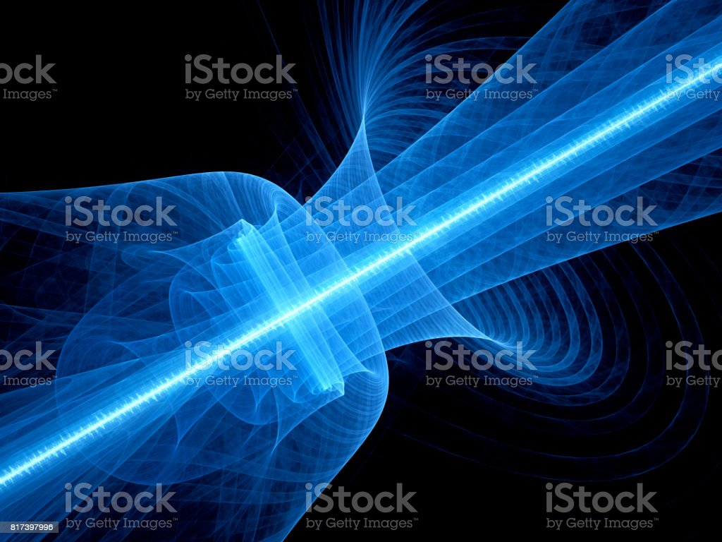 Blue glowing quantum laser in space with rippled beam stock photo