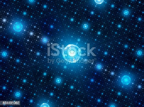 Blue glowing quantum processors in grid, network of hubs, computer generated abstract background, 3D rendering