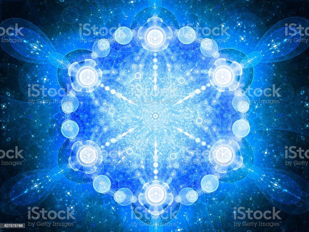 Blue glowing space mandala stock photo