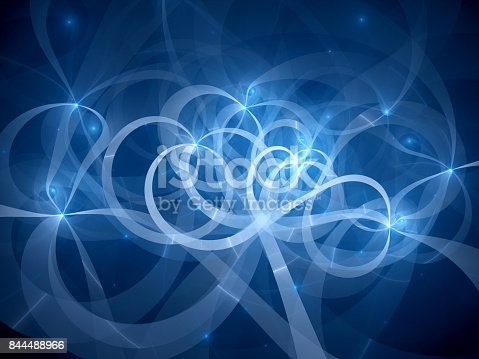 istock Blue glowing spaghetti curves in space 844488966