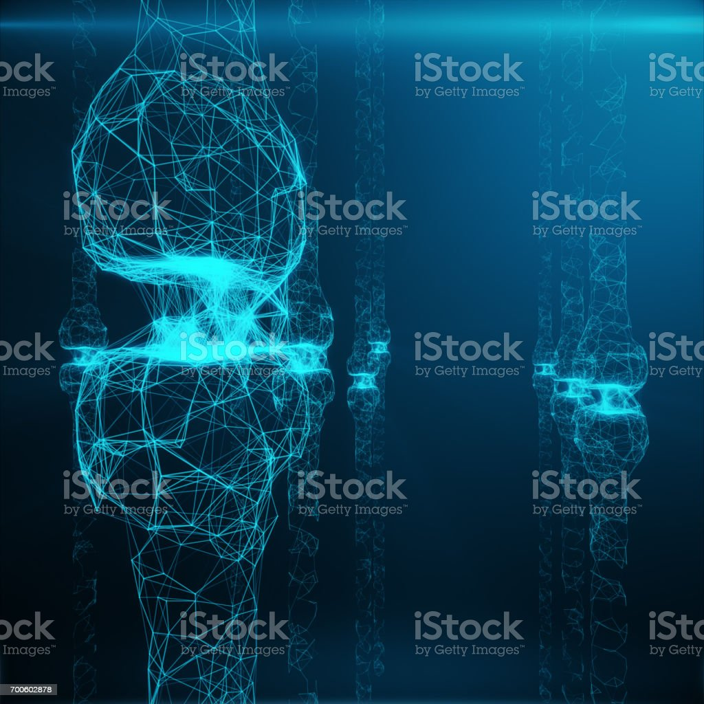 Blue glowing synapse. Artificial neuron in concept of artificial intelligence. Synaptic transmission lines of pulses.Abstract polygonal space low poly with connecting dots and lines, 3D rendering stock photo