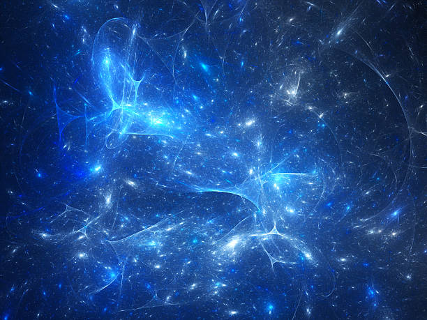 Blue glowing synapses in space stock photo