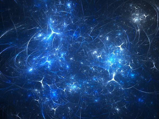 blue glowing synapses in raum - axon stock-fotos und bilder