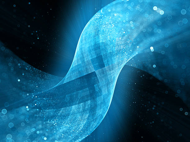 Blue glowing tube surface in space with particles stock photo