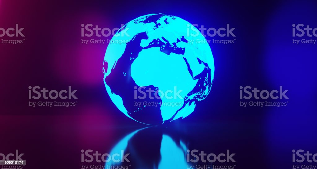 Blue Glowing World Globe Map On Blurry Background.3D Rendering stock photo