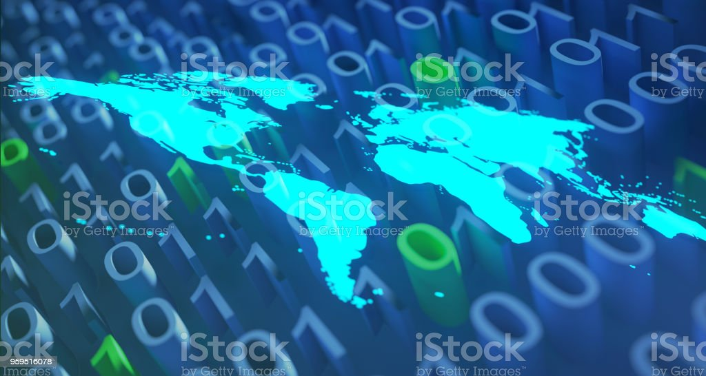 Blue Glowing World Map On Binary Background.3D Rendering stock photo