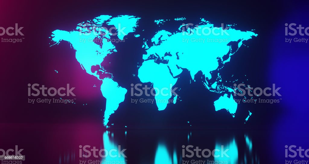 Blue Glowing World Map On Blurry Background.3D Rendering stock photo