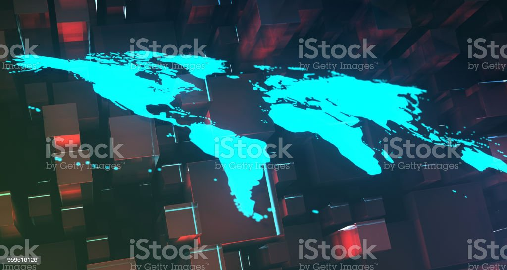 Blue Glowing World Map On Cubes Background.3D Rendering stock photo