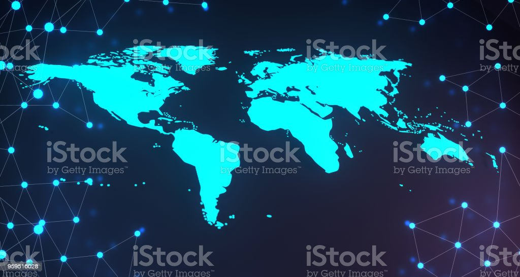 Blue Glowing World Map On Plexus Background.3D Rendering stock photo