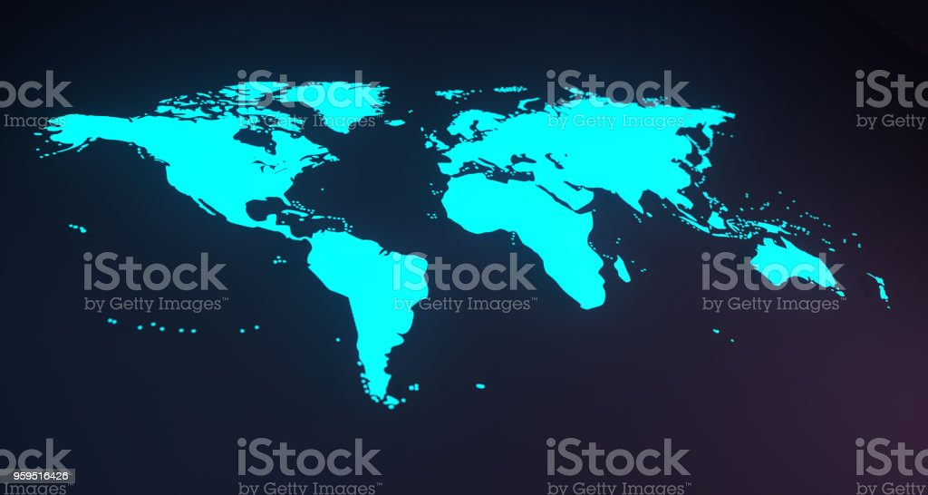 Blue Glowing World Map On Soft Background.3D Rendering stock photo