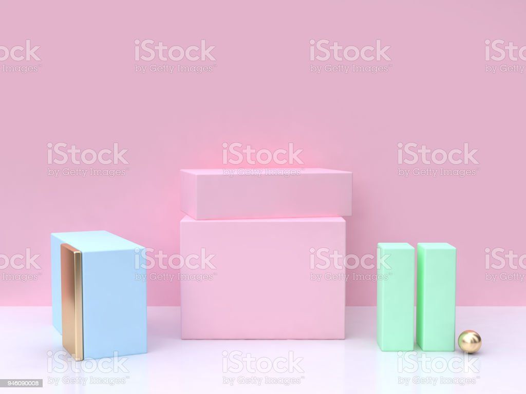 blue gold pink green square minimal abstract background 3d rendering stock photo