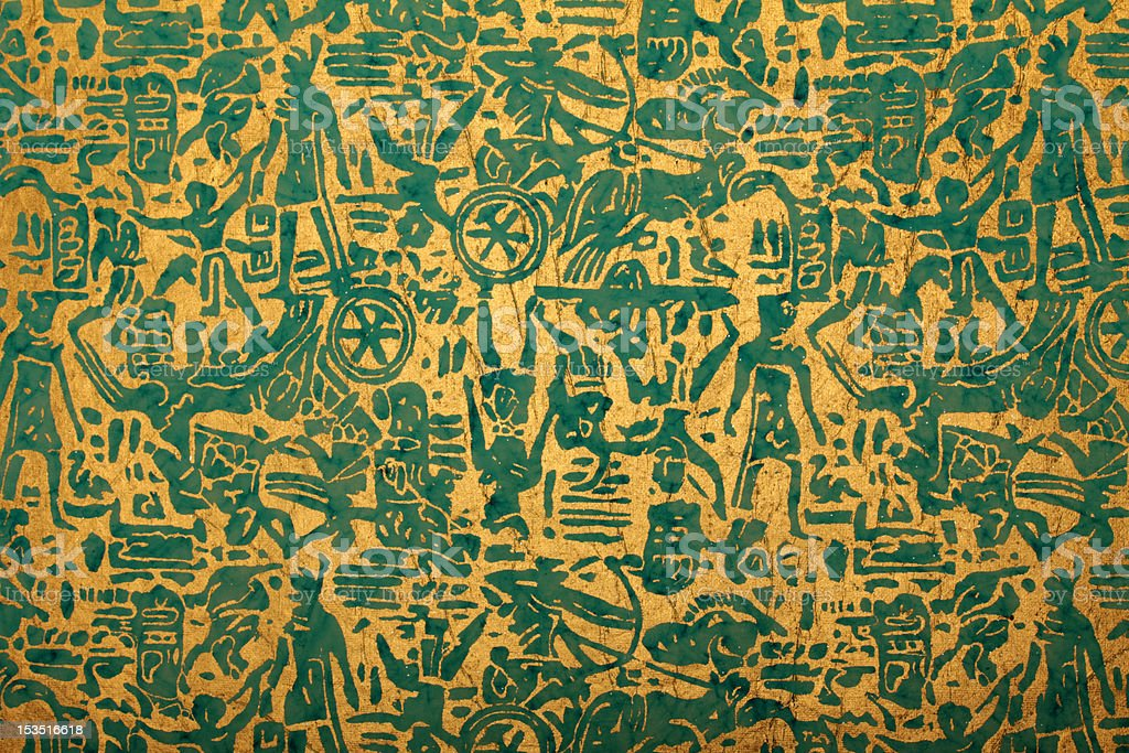 blue golden handmade art paper with tribal print royalty-free stock photo