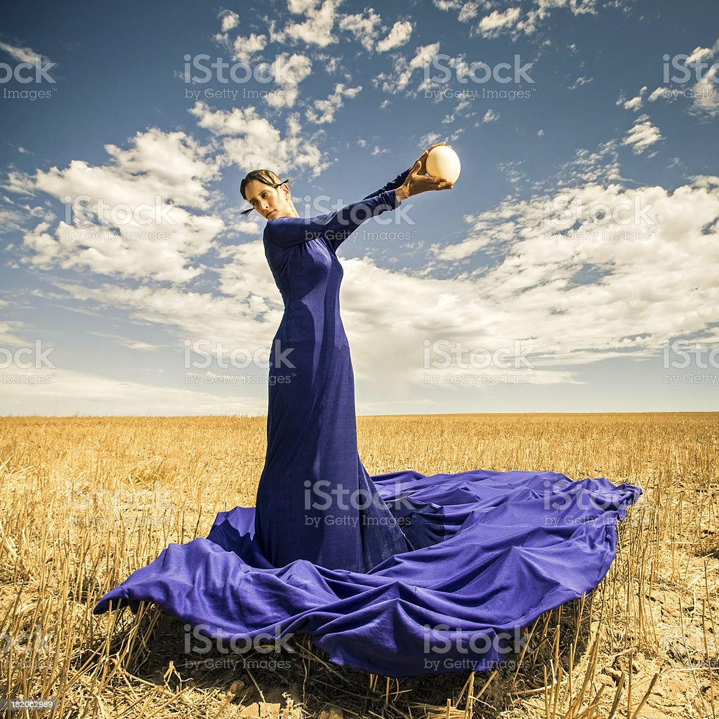 Blue Gown Woman Fashion Portrait stock photo