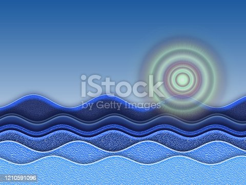 962817120 istock photo Blue gradient background with waves and moon at night. 1210591096