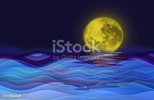 962817120 istock photo Blue gradient background with waves and moon at night. 1212500209