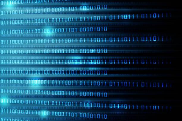 blauen farbverlauf mit binär-code, abstrakte technik-hintergrund - binärcode stock-fotos und bilder