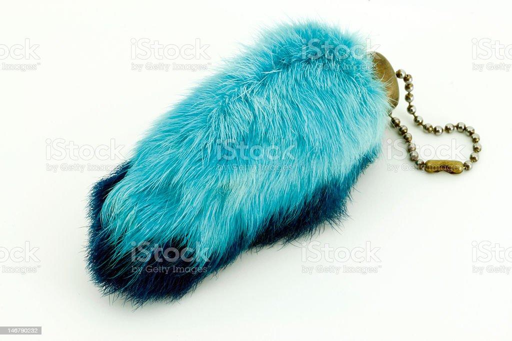 Blue gradient rabbits foot keychain stock photo