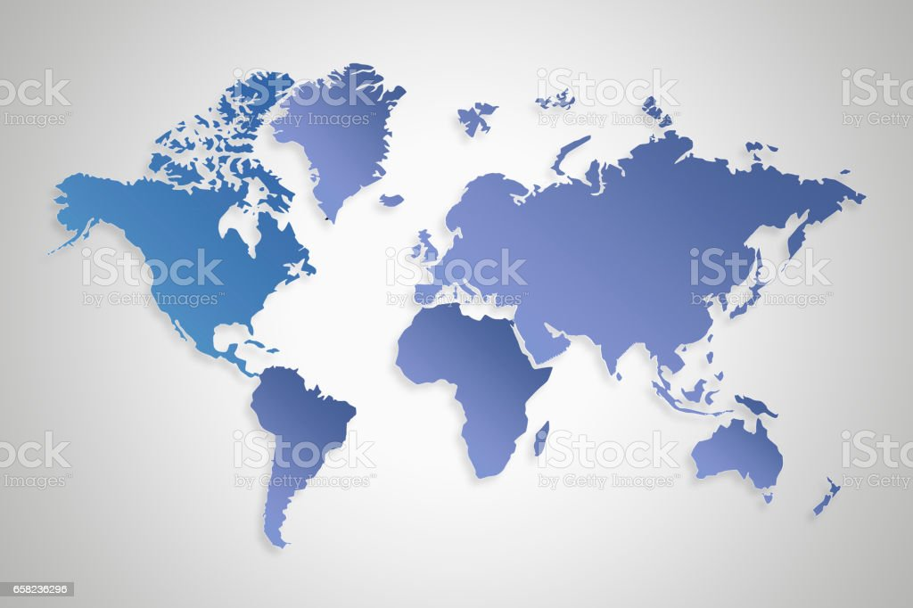 Blue gradient World map on light gray background vector art illustration