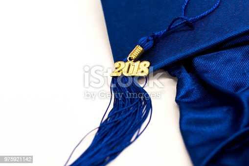 istock 2018 Blue Graduation Cap and Tassel 975921142