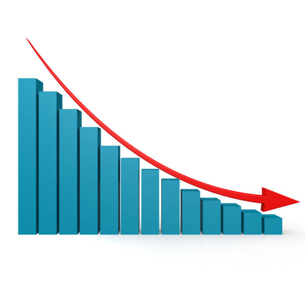 Blue graph and red arrow down image Blue graph and red arrow down image with hi-res rendered artwork that could be used for any graphic design. Lost Revenue stock pictures, royalty-free photos & images