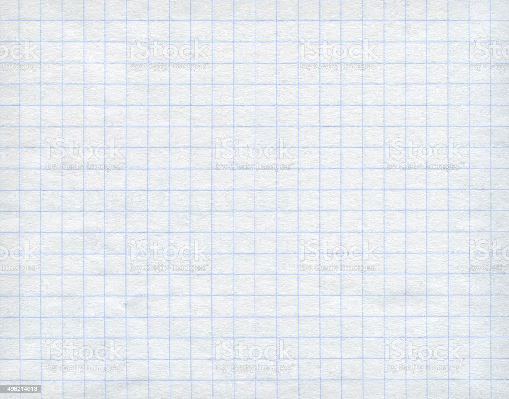 Blue graph paper on white background. stock photo