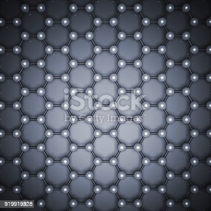 istock Blue graphene layer structure 3d, top view 919919328